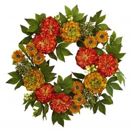 Nearly Natural Peony and Mum Wreath in Orange and Yellow