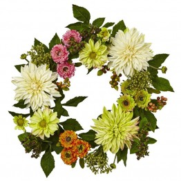 Nearly Natural Dahlia Mum Wreath in Pink Green and White