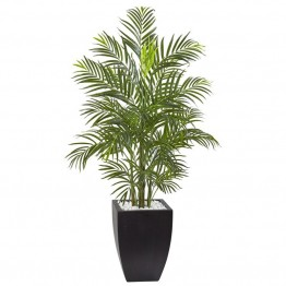 Nearly Natural UV Resistant Areca Palm Tree with Black Wash Planter