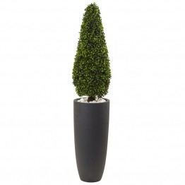 Nearly Natural UV Resistant Boxwood Topiary with Gray Planter