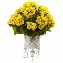 Nearly Natural UV Resistant Geranium with Metal Planter in Yellow