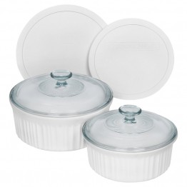 CorningWare 6 Piece Round Bakeware Set in French White