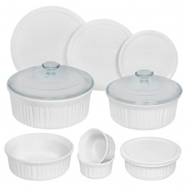 CorningWare 12 Piece Round Bakeware Set in French White