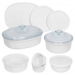CorningWare 12 Piece Bakeware Set in French White