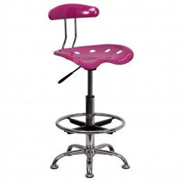 Scranton & Co Drafting Chair in Pink and Chrome