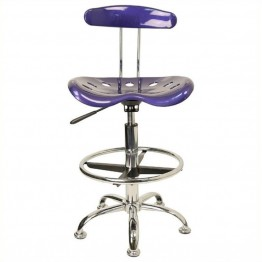 Scranton & Co Drafting Chair in Deep Blue and Chrome