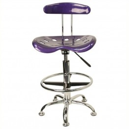 Scranton & Co Drafting Chair in Violet and Chrome