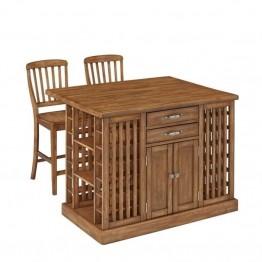 Bowery Hill Kitchen Island with 2 Stools in Warm Oak