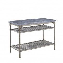 Bowery Hill Kitchen Island in Aged Metal with Concrete Top