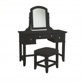 Bowery Hill Bedroom Vanity and Bench in Black