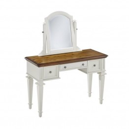 Bowery Hill Bedroom Vanity and Mirror in White and Oak