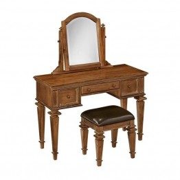 Bowery Hill Bedroom Vanity and Bench in Natural Acacia