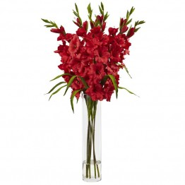 Nearly Natural Large Silk Gladiola with Cylinder Vase in Red