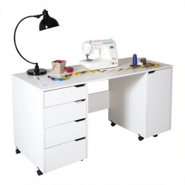 Bowery Hill Sewing Craft Table with Wheels in Pure White