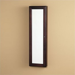Bowery Hill Wall Mount Jewelry Mirror in Cherry
