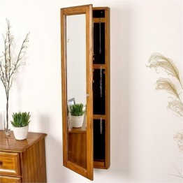 Bowery Hill Wall Mount Jewelry Mirror in Plantation Oak