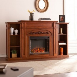 Bowery Hill Bookcase Electric Fireplace in Oak