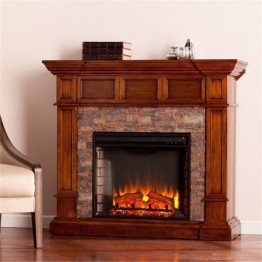 Bowery Hill Faux Stone Electric Fireplace in Oak