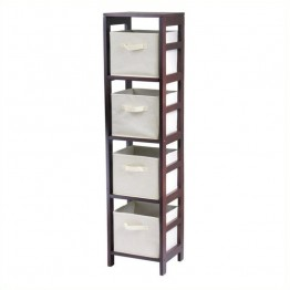 Winsome Leo 4-Section Tall Storage Shelf with 4 Foldable Beige Baskets