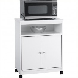 "Ameriwood Home 24"""" Open Microwave Cart in White Stipple"