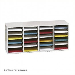 Safco Grey 24 Compartment Wood Adjustable File Organizer