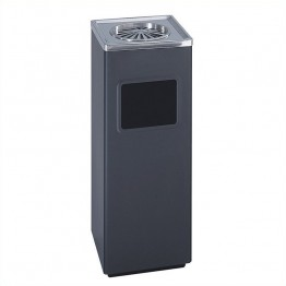 Safco Black Square Ash And Trash Receptacle in Black