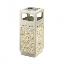 Safco Canmeleon Aggregate Panel 15 Gallon Trash Can with Ash Urn in Beige