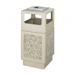 Safco Canmeleon Aggregate Panel 38 Gallon Trash Can with Ash Urn in Beige