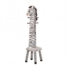 Fantasy Fields Hand Carved Safari Zebra Coat Rack with Seat