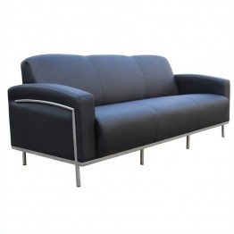 Boss Office Products Black Caressoft Plus Sofa with Chrome Frame