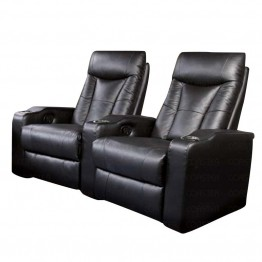 Coaster Pavillion 2-Theater Seat Chairs In Black Leather