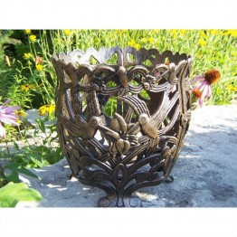 "Oakland Living Hummingbird 12"""" Round Flower Pot in Antique Bronze"