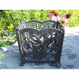 "Oakland Living Hummingbird 8"""" Square Flower Pot in Antique Bronze"