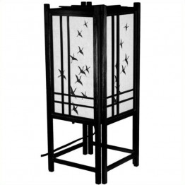 "Oriental Furniture 18 """" Cranes Shoji L in Black"