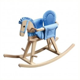 Fantasy Fields Hand Carved Safari Natural Rocking Horse with Blue Pad