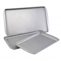 Farberware Bakeware 3 Piece Nonstick Baking Sheet Set in Gray