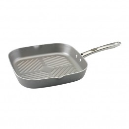 "Farberware Specialties 11"""" Nonstick Aluminum Square Grill in Platinum"
