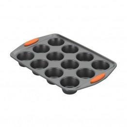Rachael Ray Yum-o Nonstick 12 Cup Muffin Pan in Gray and Orange