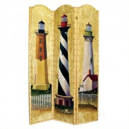 Wayborn Hand Painted Light House Room Divider