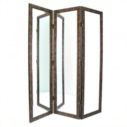 Wayborn Mirrored Room Divider in Brown and Gold