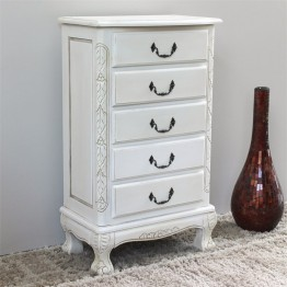 International Caravan Windsor 5 Drawer Carved Jewelry Armoire in White