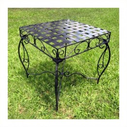 International Caravan Mandalay Iron Patio Side Table in Antique Black
