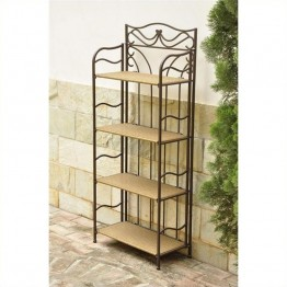 "International Caravan Valencia 4 Tier 24"""" Bakers Rack in Honey Pecan"