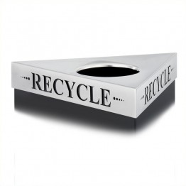 "Safco Trifecta """"Recycle"""" Lid in Stainless Steel"