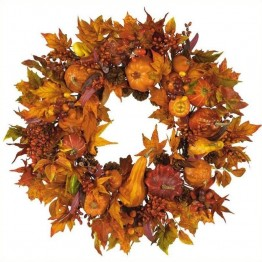 "Nearly Natural 28"""" Harvest Wreath in Fall"