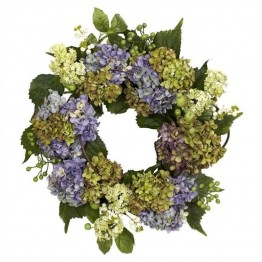 "Nearly Natural 22"""" Hydrangea Wreath in Purple and  Green"
