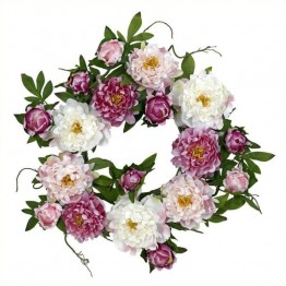 "Nearly Natural 22"""" Peony Wreath in Pink"