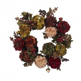 "Nearly Natural 22"""" Autumn Hydrangea Peony Wreath in Red"