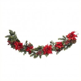 "Nearly Natural 60"""" Poinsettia and Berry Garland in Red"