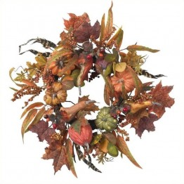 "Nearly Natural 24"""" Pumpkin and Berry Wreath in Autumn"